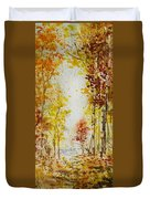 Fall Tree In Autumn Forest  Duvet Cover