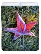 Fallen Autumn Leaf In The Grass During Morning Frost Duvet Cover