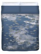 Fallen Leaves And Reflections Of Clouds Duvet Cover