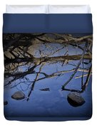 Fallen Tree Trunk With Reflections On The Muskegon Rive Duvet Cover