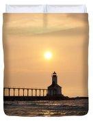 Falling On The Lighthouse Duvet Cover