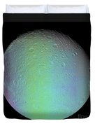 False Color View Of Saturns Moon Dione Duvet Cover