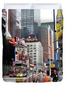 Amidst Color And Construction In Times Square Duvet Cover