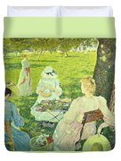 Family In The Orchard Duvet Cover