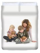 Family With Cockerpoo Pups Duvet Cover