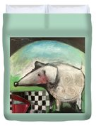 Fancy Dog At Picnic With Water Dish Duvet Cover