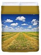 Farm Field At Harvest In Saskatchewan Duvet Cover