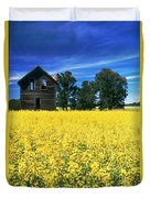 Farm House And Canola Field, Holland Duvet Cover