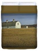 Farm Scene With White Barn Duvet Cover