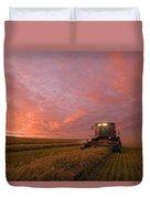 Farmer Harvesting Oat Crop Duvet Cover