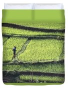 Farmer In Rice Paddy, Elevated View Duvet Cover