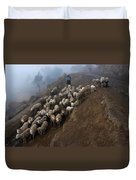 farmers bring their sheep to graze. Republic of Bolivia. Duvet Cover