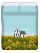 Farmhouse In A Field Of Sunflowers Duvet Cover