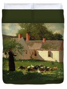 Farmyard Scene Duvet Cover by Winslow Homer
