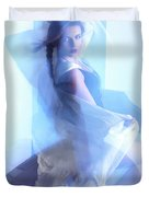 Fashion Photo Of A Woman In Shining Blue Settings Duvet Cover by Oleksiy Maksymenko