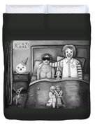 Fast Food Nightmare Bw Duvet Cover