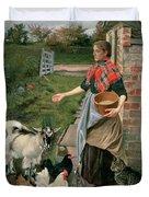 Feeding The Chickens Duvet Cover