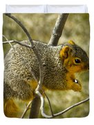 Feeding Tree Squirrel Duvet Cover