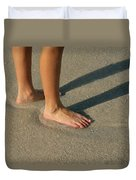 Feet In The Wet Sand Of A Beach Wait Duvet Cover
