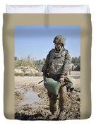 Female Airman Carries A Sandbag Duvet Cover