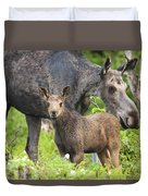 Female And A Three Weeks Old Moose Duvet Cover