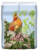 Female Cardnial In Wegia Digital Art Duvet Cover