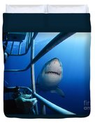 Female Great White And Underwater Duvet Cover