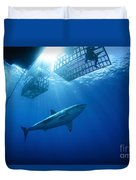 Female Great White With Cages Duvet Cover