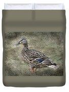 Female Mallard Duck Low Saturation Duvet Cover