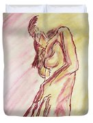 Female Nude Figure Sketch In Watercolor Purple Magenta And Yellow With A Warm Sunlit Background Duvet Cover