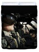 Female Pilot Commander In The Cockpit Duvet Cover