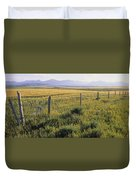 Fence And Barley Crop, Near Waterton Duvet Cover