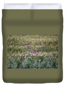 Fence And Flowers Duvet Cover