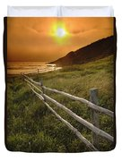 Fence And Sunset, Gooseberry Cove Duvet Cover