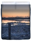 Fence By Lake At Sunset Duvet Cover
