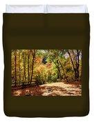 Fenced Path Through Autumn Forest - Blacksmith Fork Canyon - Utah Duvet Cover