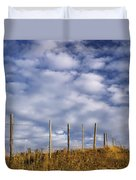 Fenceline In Pasture With Cumulus Duvet Cover by Darwin Wiggett
