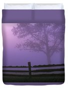 Fenceline Silhouette With Tree Duvet Cover