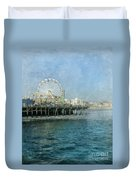 Ferris Wheel On The Santa Monica Pier Duvet Cover