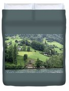 Few Houses On The Slope Of Mountain Next To Lake Lucerne Duvet Cover