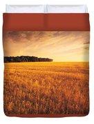 Field Of Grain Stubble Near St Duvet Cover