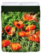 Field Of Red Poppies Duvet Cover