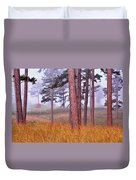Field Pines And Fog In Shannon County Missouri Duvet Cover