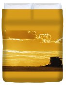 Field With Combine At Sunset Duvet Cover
