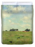 Field With Trees And Sky Duvet Cover