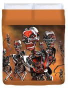 Fierce Androids Riot The City Of Tokyo Duvet Cover by Mark Stevenson