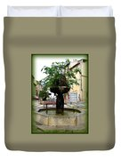 Fig Tree Fountain In Cassis Duvet Cover