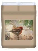 Finch Greeting Card With Verse Duvet Cover