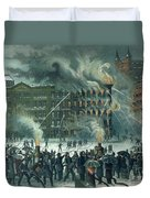 Fire In The New York World Building Duvet Cover by American School