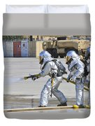 Firefighters Execute Fire Containment Duvet Cover